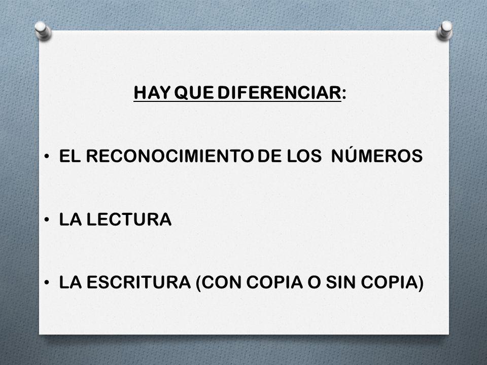 HAY QUE DIFERENCIAR: EL RECONOCIMIENTO DE LOS NÚMEROS LA LECTURA LA ESCRITURA (CON COPIA O SIN COPIA)