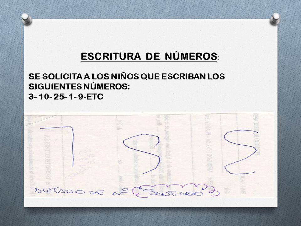 ESCRITURA DE NÚMEROS : SE SOLICITA A LOS NIÑOS QUE ESCRIBAN LOS SIGUIENTES NÚMEROS: 3- 10- 25- 1- 9-ETC