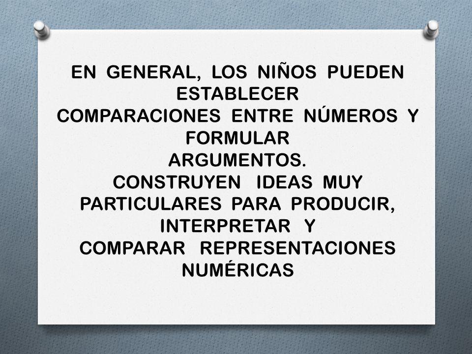 EN GENERAL, LOS NIÑOS PUEDEN ESTABLECER COMPARACIONES ENTRE NÚMEROS Y FORMULAR ARGUMENTOS. CONSTRUYEN IDEAS MUY PARTICULARES PARA PRODUCIR, INTERPRETA