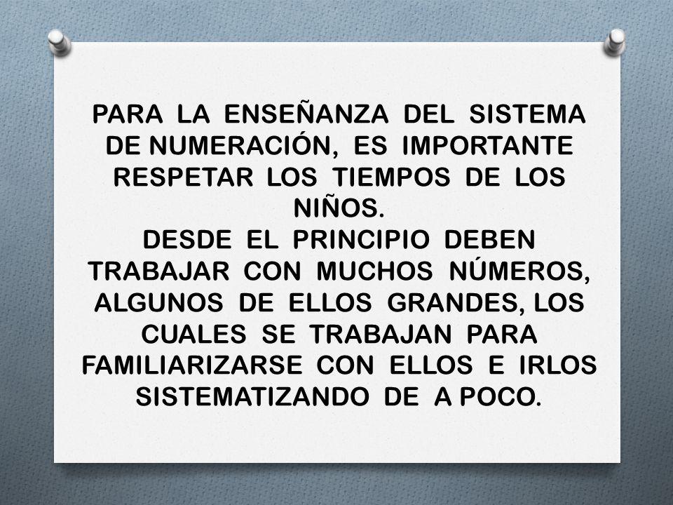 PARA LA ENSEÑANZA DEL SISTEMA DE NUMERACIÓN, ES IMPORTANTE RESPETAR LOS TIEMPOS DE LOS NIÑOS. DESDE EL PRINCIPIO DEBEN TRABAJAR CON MUCHOS NÚMEROS, AL