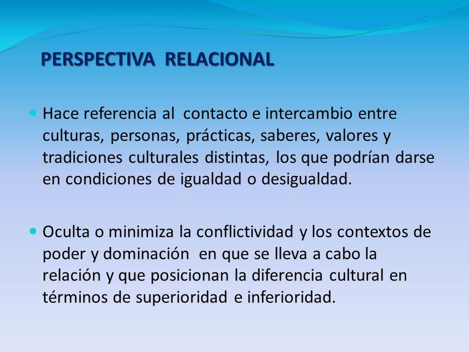 PERSPECTIVA RELACIONAL Hace referencia al contacto e intercambio entre culturas, personas, prácticas, saberes, valores y tradiciones culturales distin