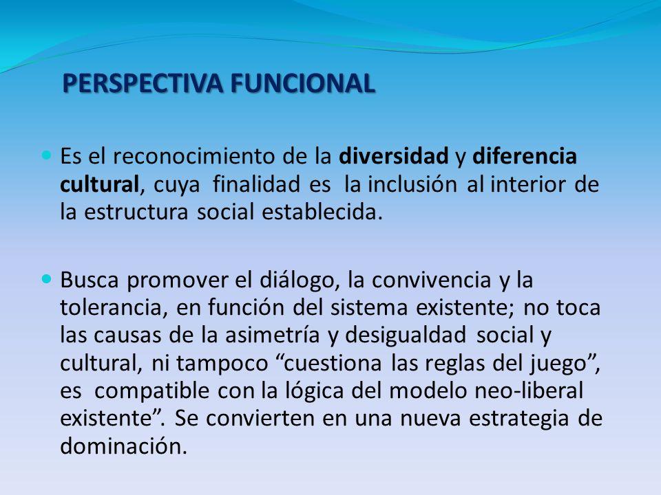 PERSPECTIVA FUNCIONAL Es el reconocimiento de la diversidad y diferencia cultural, cuya finalidad es la inclusión al interior de la estructura social