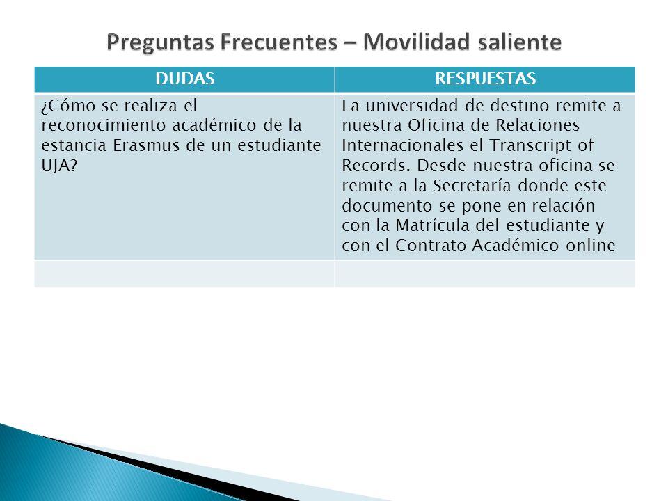 DUDASRESPUESTAS ¿Cómo se realiza el reconocimiento académico de la estancia Erasmus de un estudiante UJA? La universidad de destino remite a nuestra O
