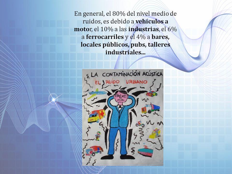 En general, el 80% del nivel medio de ruidos, es debido a vehículos a motor, el 10% a las industrias, el 6% a ferrocarriles y el 4% a bares, locales p