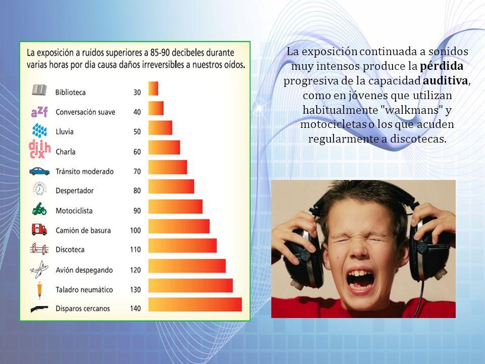 La exposición continuada a sonidos muy intensos produce la pérdida progresiva de la capacidad auditiva, como en jóvenes que utilizan habitualmente