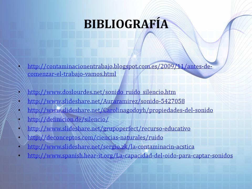 BIBLIOGRAFÍA http://contaminacionentrabajo.blogspot.com.es/2009/11/antes-de- comenzar-el-trabajo-vamos.html http://contaminacionentrabajo.blogspot.com