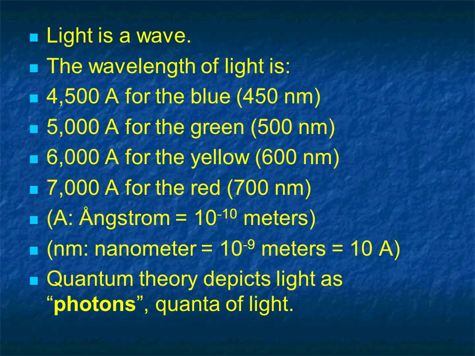 Light is a wave. The wavelength of light is: 4,500 A for the blue (450 nm) 5,000 A for the green (500 nm) 6,000 A for the yellow (600 nm) 7,000 A for