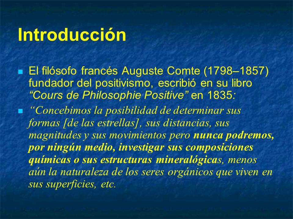 Introducción El filósofo francés Auguste Comte (1798–1857) fundador del positivismo, escribió en su libro Cours de Philosophie Positive en 1835: Conce