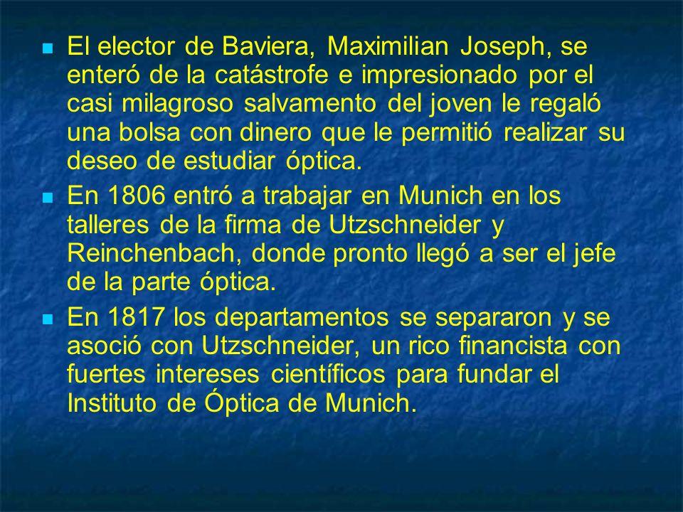El elector de Baviera, Maximilian Joseph, se enteró de la catástrofe e impresionado por el casi milagroso salvamento del joven le regaló una bolsa con