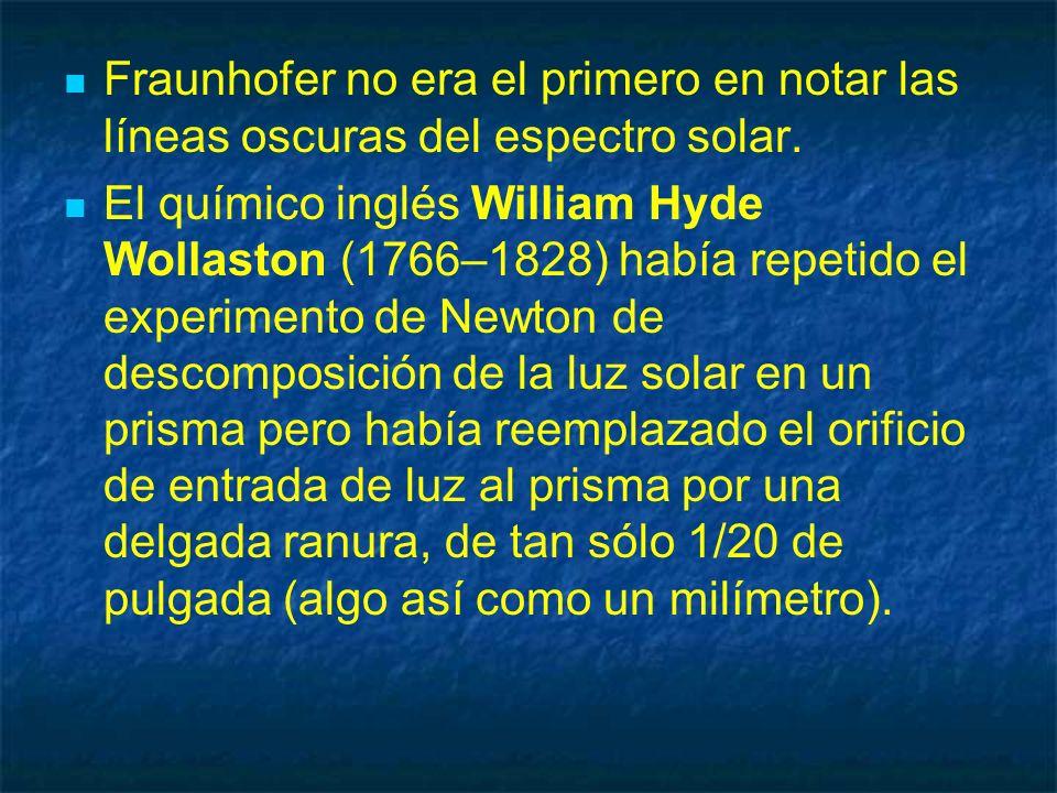 Fraunhofer no era el primero en notar las líneas oscuras del espectro solar. El químico inglés William Hyde Wollaston (1766–1828) había repetido el ex