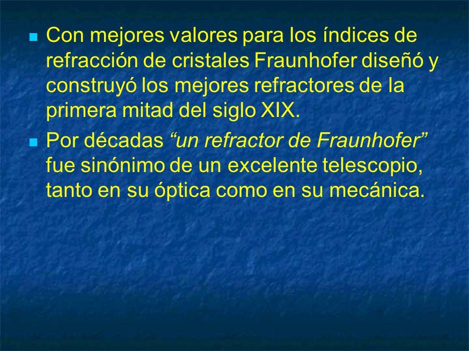 Con mejores valores para los índices de refracción de cristales Fraunhofer diseñó y construyó los mejores refractores de la primera mitad del siglo XI