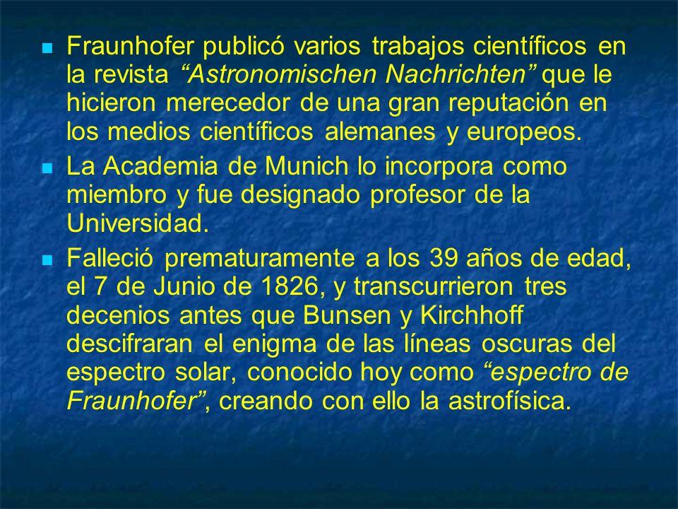 Fraunhofer publicó varios trabajos científicos en la revista Astronomischen Nachrichten que le hicieron merecedor de una gran reputación en los medios