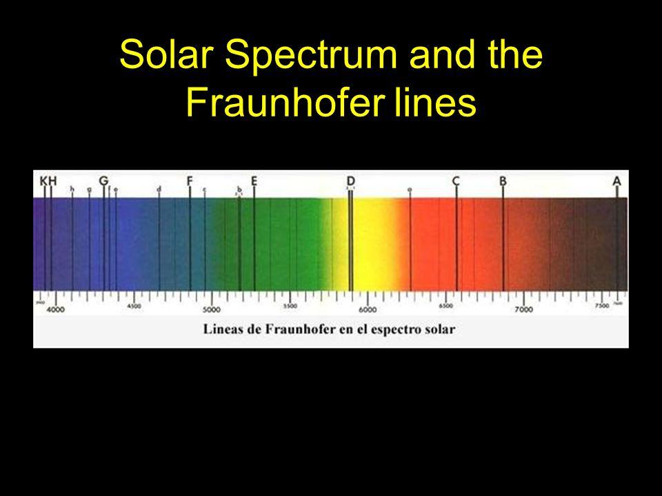 Hydrogen emission spectrum and the Fraunhofer lines in the solar spectrum