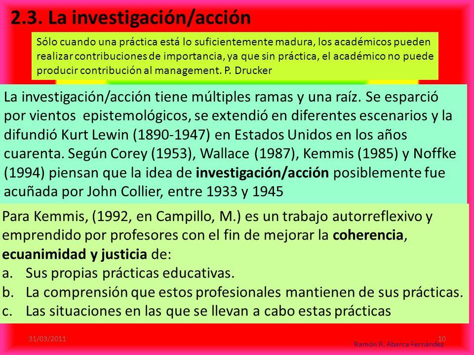 2.3.La investigación/acción La investigación/acción tiene múltiples ramas y una raíz.