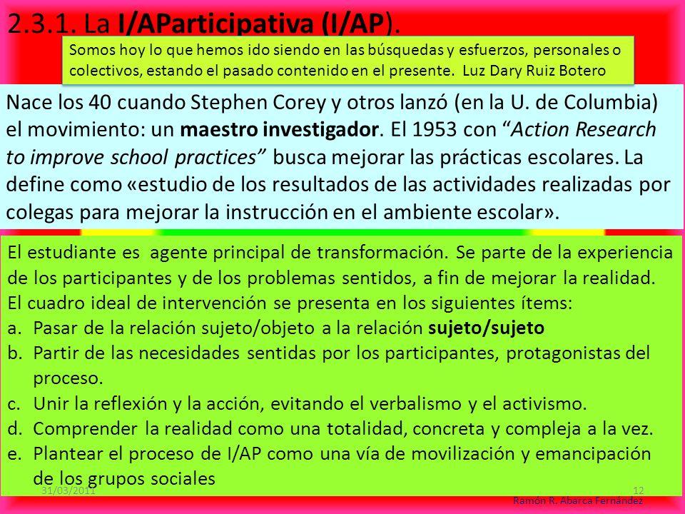 2.3.1.La I/AParticipativa (I/AP). Nace los 40 cuando Stephen Corey y otros lanzó (en la U.