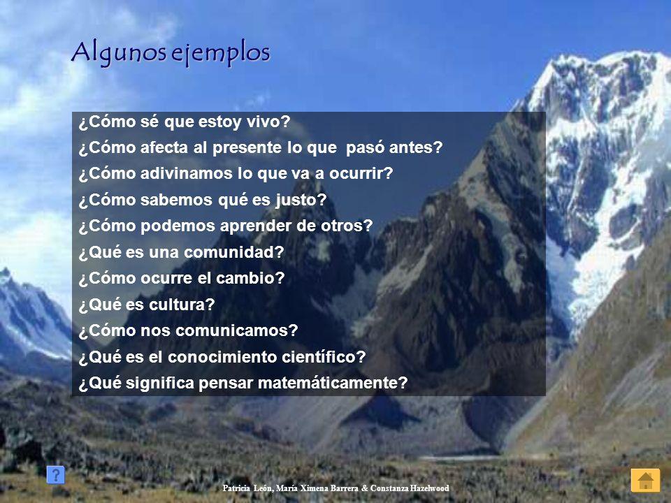 Patricia León, María Ximena Barrera & Constanza Hazelwood Algunos ejemplos Algunos ejemplos ¿Cómo sé que estoy vivo? ¿Cómo afecta al presente lo que p