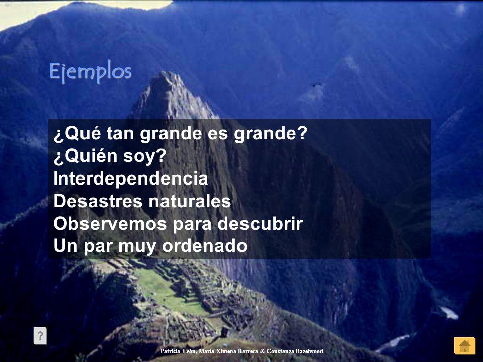 Patricia León, María Ximena Barrera & Constanza Hazelwood Ejemplos ¿Qué tan grande es grande? ¿Quién soy? Interdependencia Desastres naturales Observe