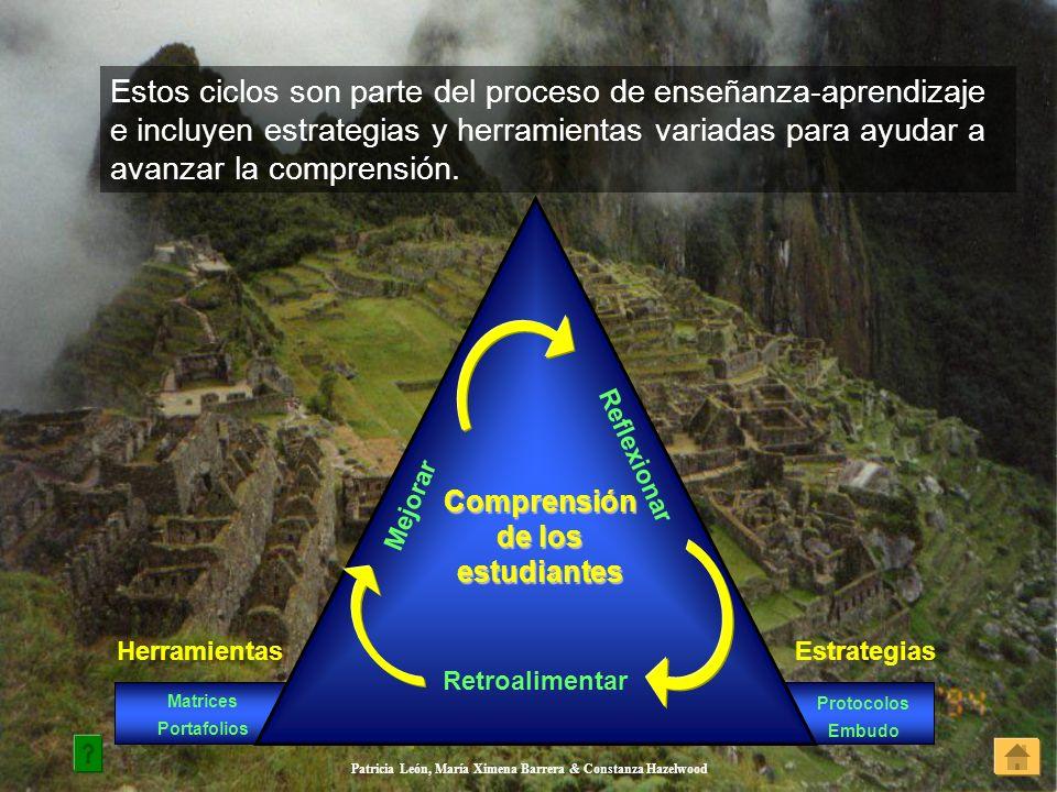 Patricia León, María Ximena Barrera & Constanza Hazelwood Estos ciclos son parte del proceso de enseñanza-aprendizaje e incluyen estrategias y herrami