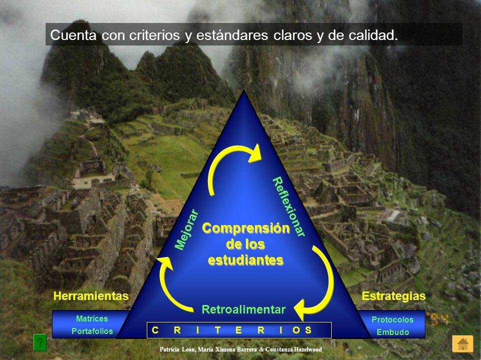 Patricia León, María Ximena Barrera & Constanza Hazelwood Cuenta con criterios y estándares claros y de calidad. HerramientasEstrategias Matrices Port