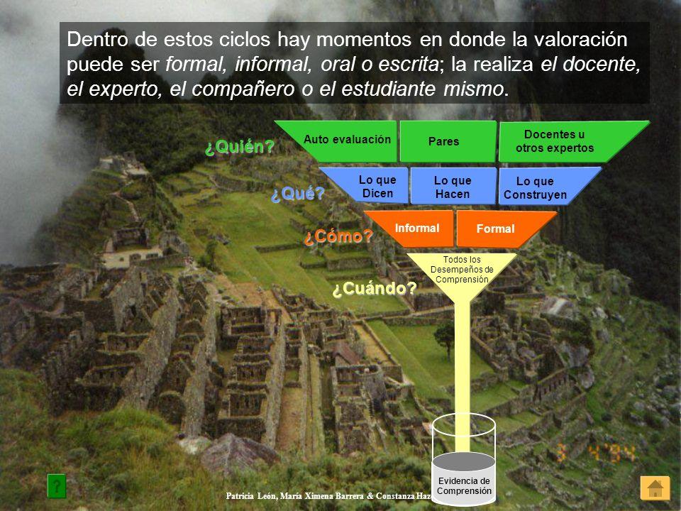 Patricia León, María Ximena Barrera & Constanza Hazelwood Dentro de estos ciclos hay momentos en donde la valoración puede ser formal, informal, oral