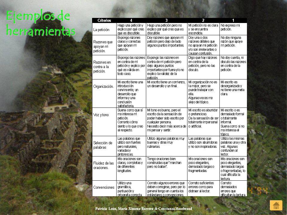 Patricia León, María Ximena Barrera & Constanza Hazelwood Ejemplos de herramientas Ejemplos de herramientas