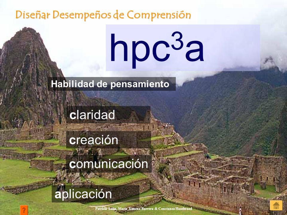 Patricia León, María Ximena Barrera & Constanza Hazelwood hpc 3 a Diseñar Desempeños de Comprensión Diseñar Desempeños de Comprensión claridad Habilid