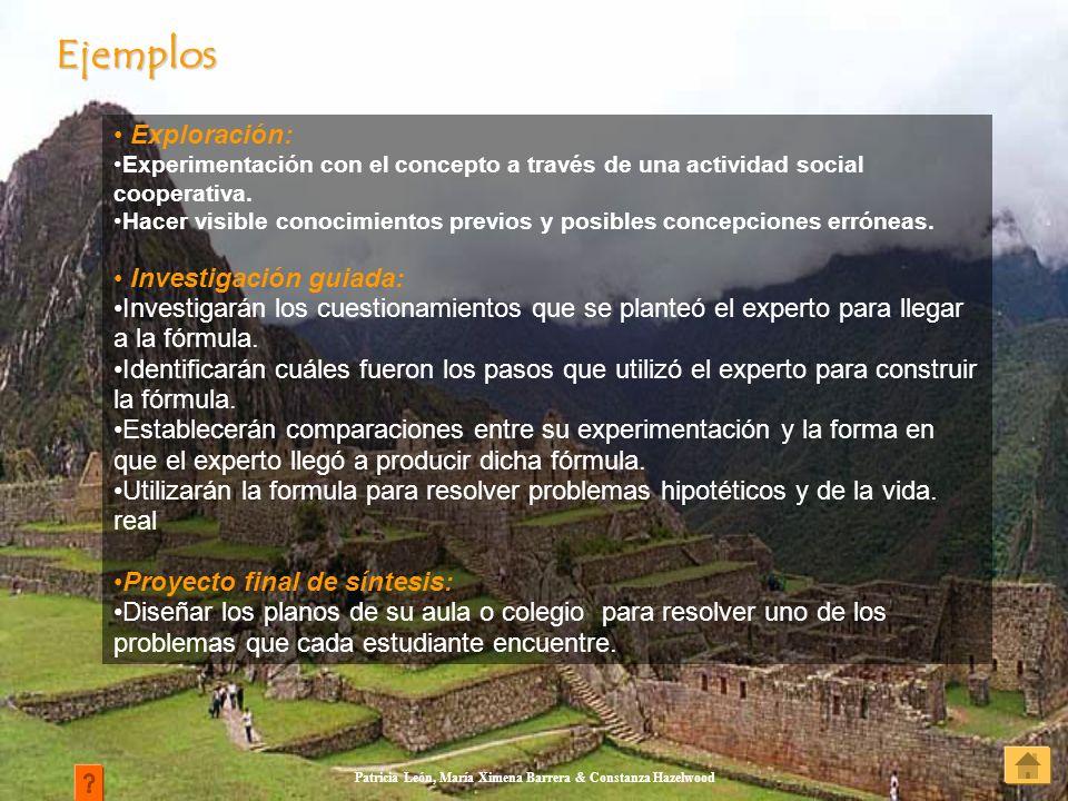Patricia León, María Ximena Barrera & Constanza Hazelwood Exploración: Experimentación con el concepto a través de una actividad social cooperativa. H