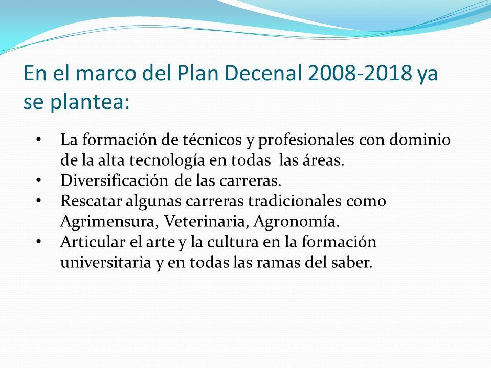 En el marco del Plan Decenal 2008-2018 ya se plantea: La formación de técnicos y profesionales con dominio de la alta tecnología en todas las áreas.