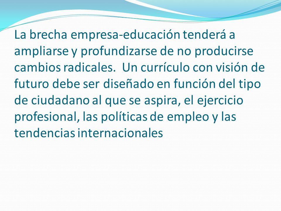 La brecha empresa-educación tenderá a ampliarse y profundizarse de no producirse cambios radicales.