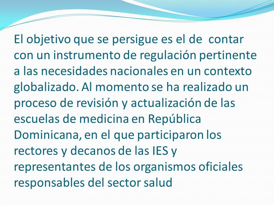 El objetivo que se persigue es el de contar con un instrumento de regulación pertinente a las necesidades nacionales en un contexto globalizado.