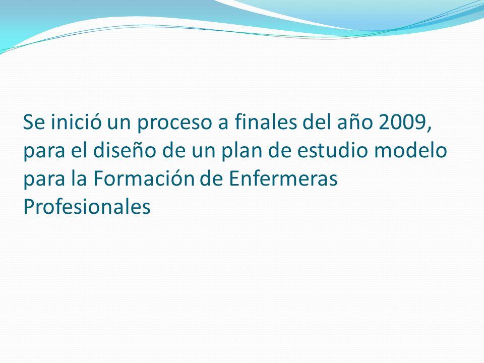 Se inició un proceso a finales del año 2009, para el diseño de un plan de estudio modelo para la Formación de Enfermeras Profesionales