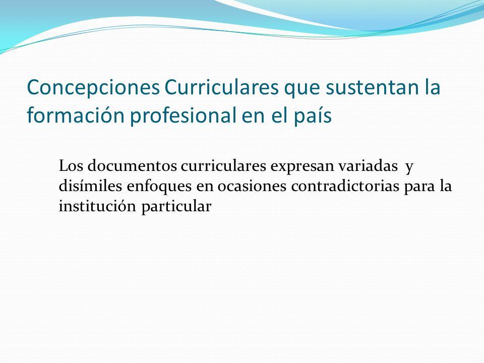 Concepciones Curriculares que sustentan la formación profesional en el país Los documentos curriculares expresan variadas y disímiles enfoques en ocasiones contradictorias para la institución particular