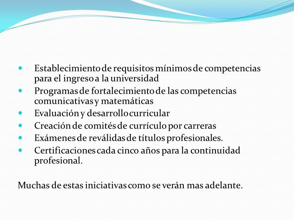 Establecimiento de requisitos mínimos de competencias para el ingreso a la universidad Programas de fortalecimiento de las competencias comunicativas y matemáticas Evaluación y desarrollo curricular Creación de comités de currículo por carreras Exámenes de reválidas de títulos profesionales.