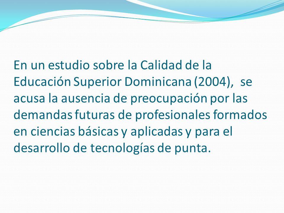 En un estudio sobre la Calidad de la Educación Superior Dominicana (2004), se acusa la ausencia de preocupación por las demandas futuras de profesionales formados en ciencias básicas y aplicadas y para el desarrollo de tecnologías de punta.