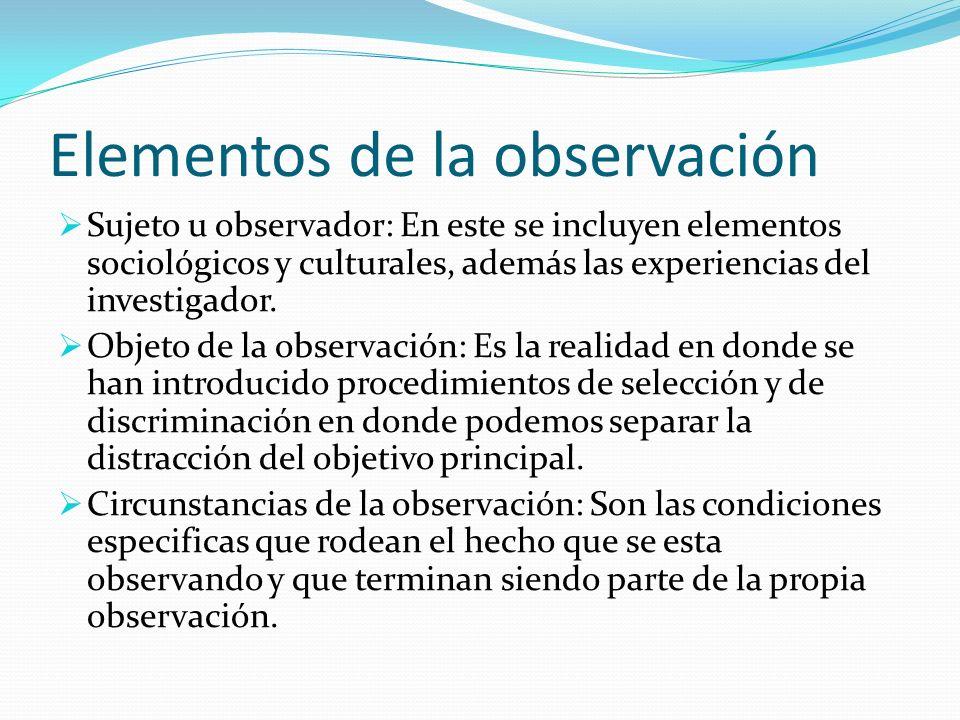 Elementos de la observación Sujeto u observador: En este se incluyen elementos sociológicos y culturales, además las experiencias del investigador. Ob