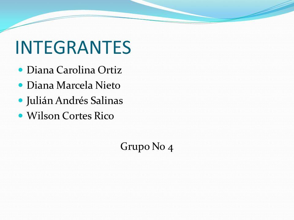INTEGRANTES Diana Carolina Ortiz Diana Marcela Nieto Julián Andrés Salinas Wilson Cortes Rico Grupo No 4