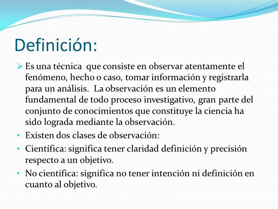 Definición: Es una técnica que consiste en observar atentamente el fenómeno, hecho o caso, tomar información y registrarla para un análisis. La observ
