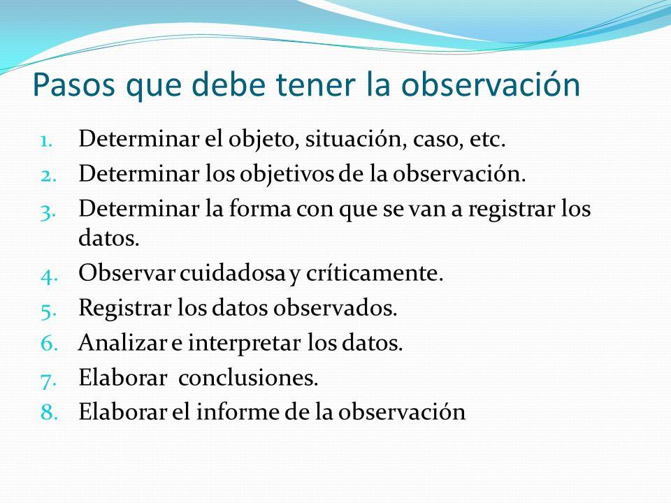 Pasos que debe tener la observación 1. Determinar el objeto, situación, caso, etc. 2. Determinar los objetivos de la observación. 3. Determinar la for