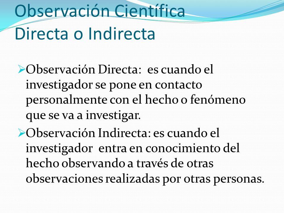 Observación Científica Directa o Indirecta Observación Directa: es cuando el investigador se pone en contacto personalmente con el hecho o fenómeno qu