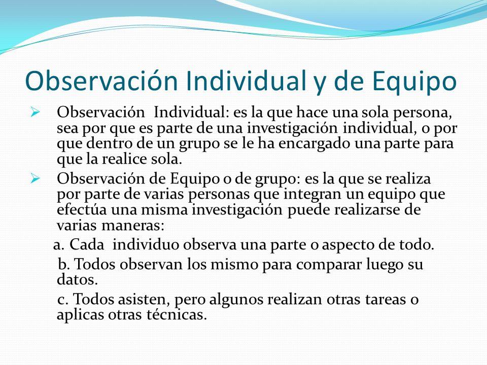 Observación Individual y de Equipo Observación Individual: es la que hace una sola persona, sea por que es parte de una investigación individual, o po