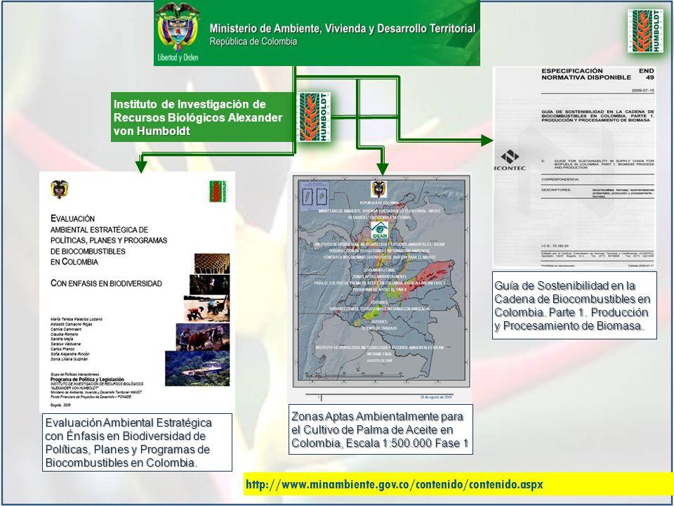 Humboldt Instituto de Investigación de Recursos Biológicos Alexander von Humboldt Zonas Aptas Ambientalmente para el Cultivo de Palma de Aceite en Colombia, Escala 1:500.000 Fase 1 Evaluación Ambiental Estratégica con Énfasis en Biodiversidad de Políticas, Planes y Programas de Biocombustibles en Colombia.
