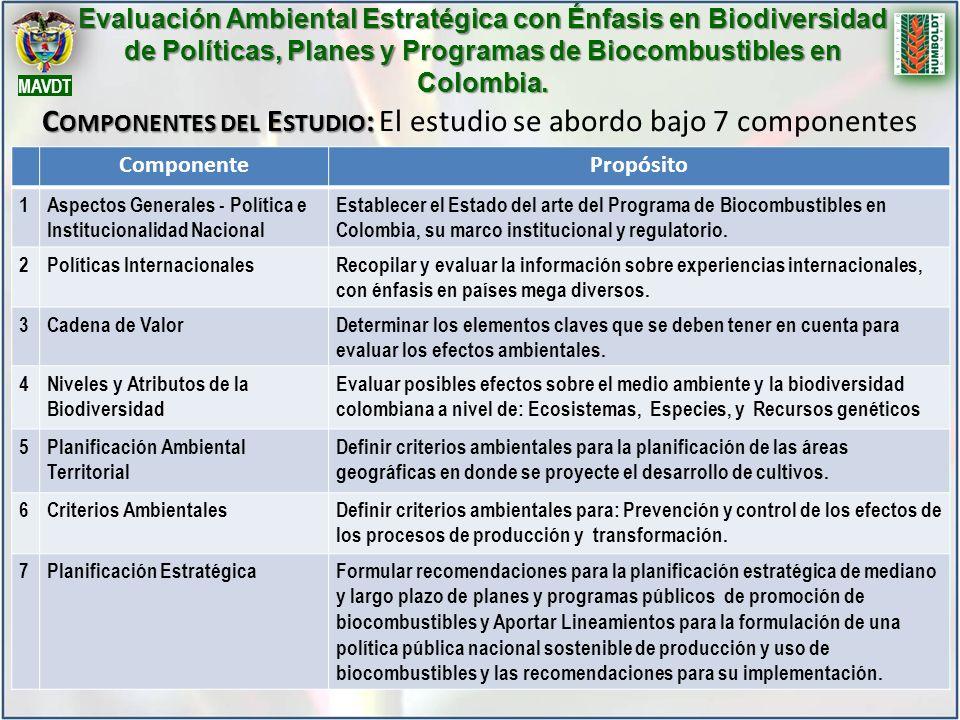 C OMPONENTES DEL E STUDIO : C OMPONENTES DEL E STUDIO : El estudio se abordo bajo 7 componentes ComponentePropósito 1Aspectos Generales - Política e Institucionalidad Nacional Establecer el Estado del arte del Programa de Biocombustibles en Colombia, su marco institucional y regulatorio.