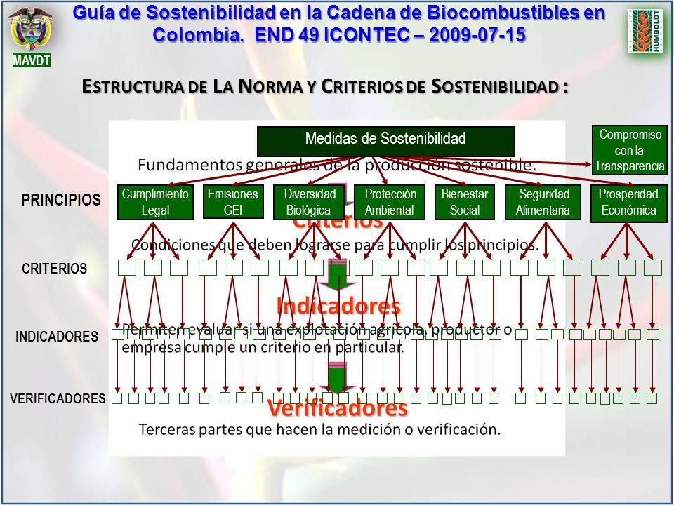 Guía de Sostenibilidad en la Cadena de Biocombustibles en Colombia. END 49 ICONTEC – 2009-07-15 MAVDT E STRUCTURA DE L A N ORMA Y C RITERIOS DE S OSTE