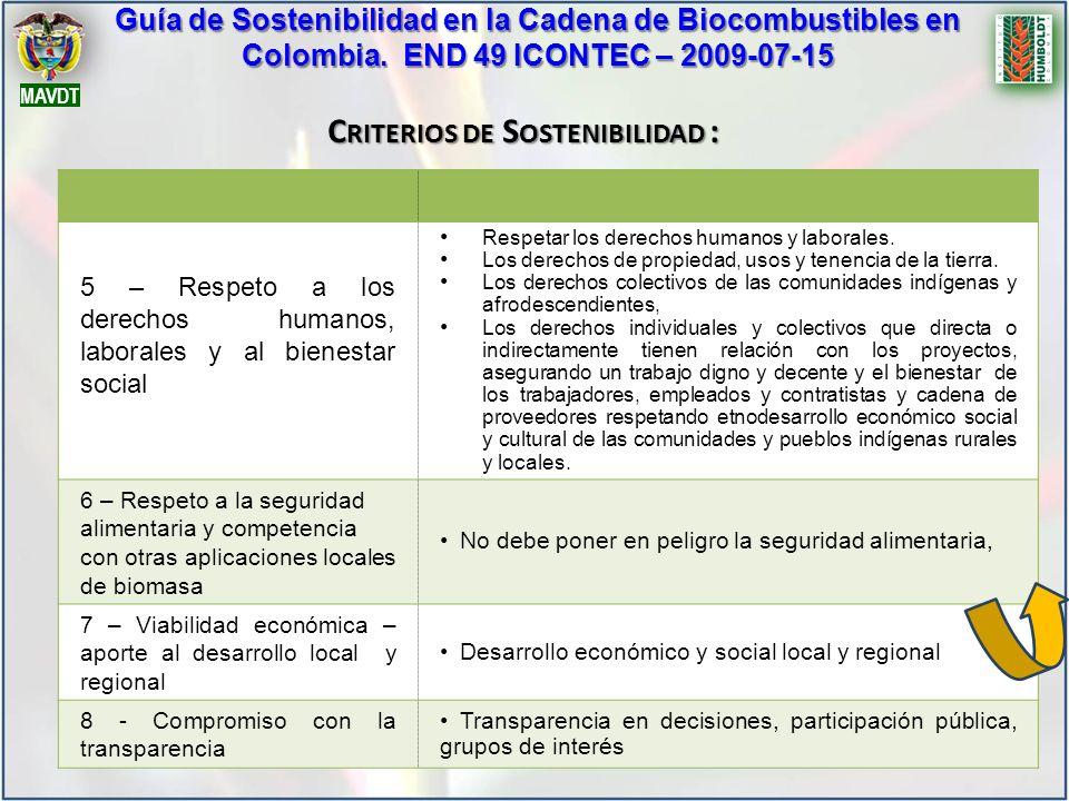 5 – Respeto a los derechos humanos, laborales y al bienestar social Respetar los derechos humanos y laborales. Los derechos de propiedad, usos y tenen