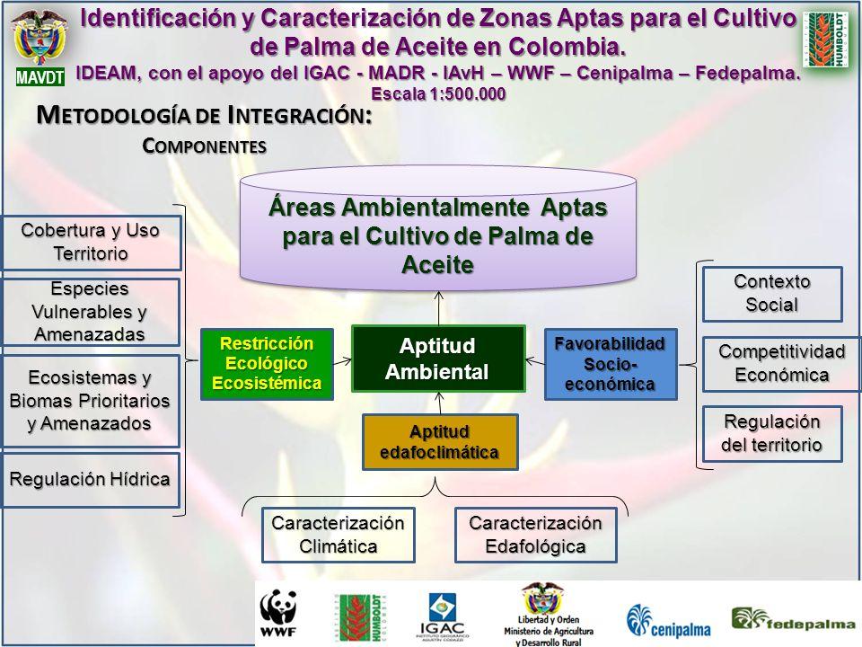 Identificación y Caracterización de Zonas Aptas para el Cultivo de Palma de Aceite en Colombia. IDEAM, con el apoyo del IGAC - MADR - IAvH – WWF – Cen