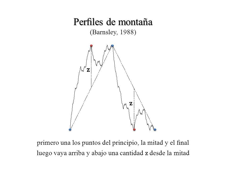 Perles de montaña Perles de montaña (Barnsley, 1988) primero una los puntos del principio, la mitad y el nal luego vaya arriba y abajo una cantidad z desde la mitad