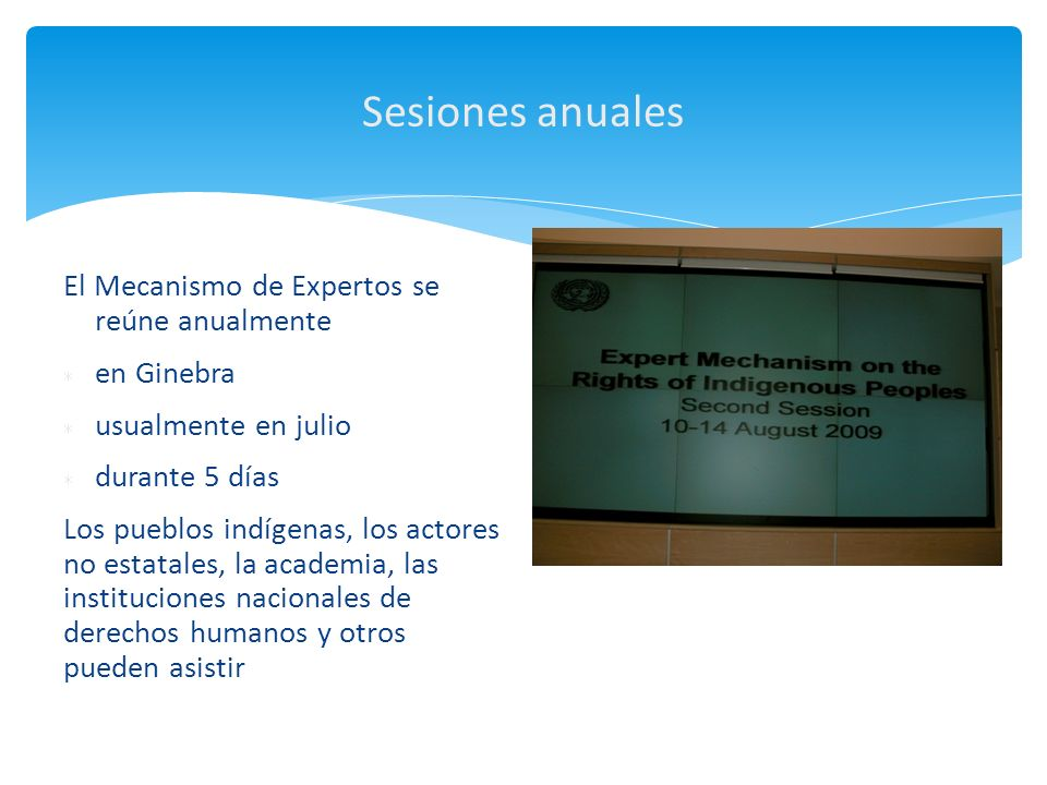 Sesiones anuales El Mecanismo de Expertos se reúne anualmente en Ginebra usualmente en julio durante 5 días Los pueblos indígenas, los actores no esta