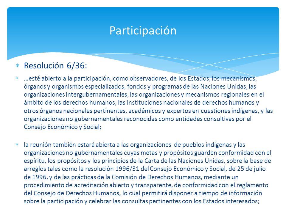 Resolución 6/36: …esté abierto a la participación, como observadores, de los Estados, los mecanismos, órganos y organismos especializados, fondos y pr