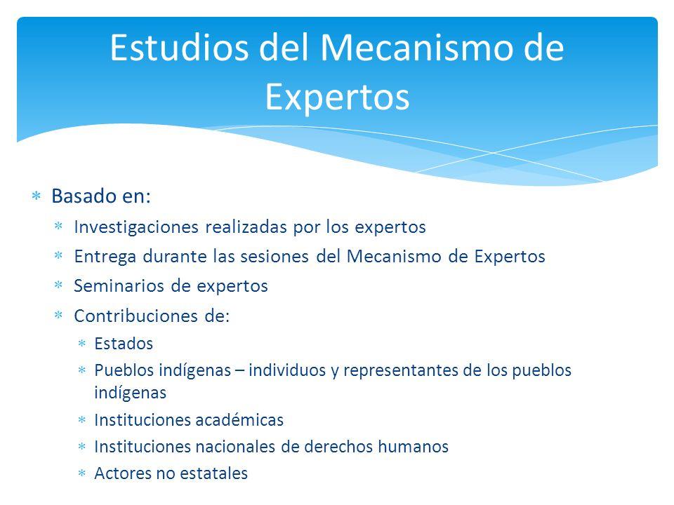 Basado en: Investigaciones realizadas por los expertos Entrega durante las sesiones del Mecanismo de Expertos Seminarios de expertos Contribuciones de
