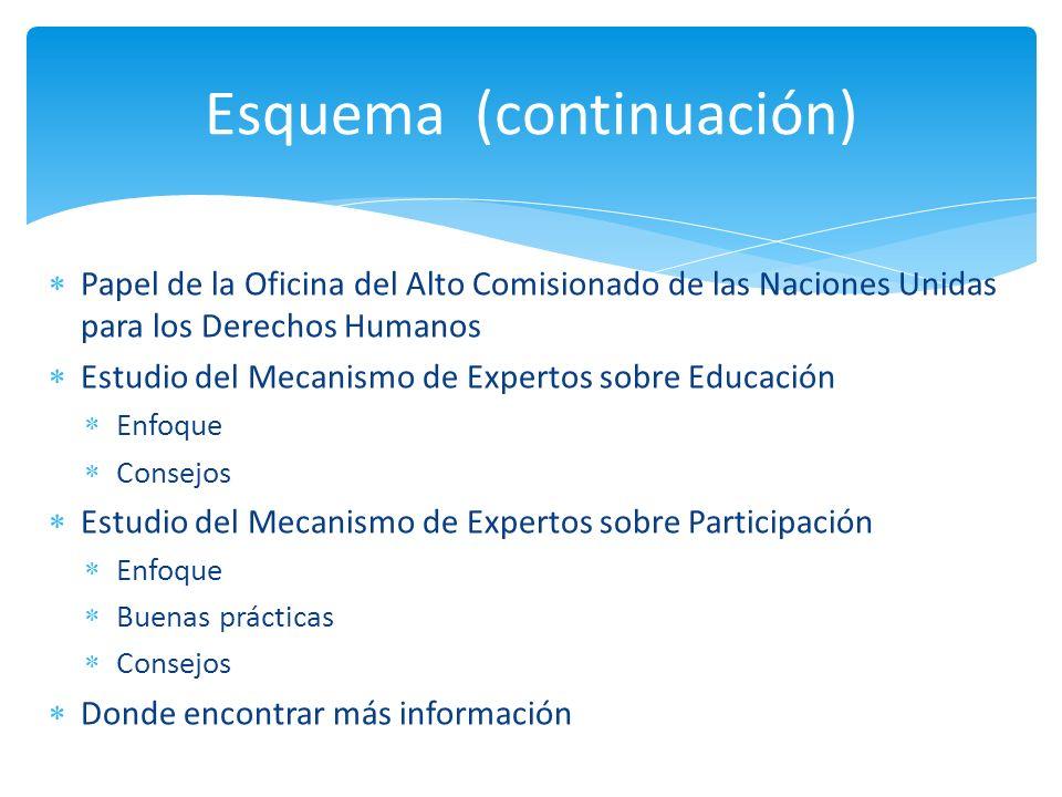 Papel de la Oficina del Alto Comisionado de las Naciones Unidas para los Derechos Humanos Estudio del Mecanismo de Expertos sobre Educación Enfoque Co